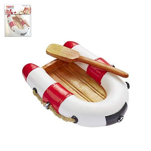 CREATIV DISCOUNT Mini Schlauchboot rot-weiß, 7 x 5cm