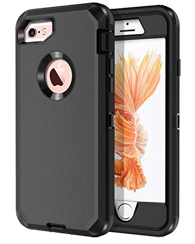 I-HONVA for iPhone 6s Plus Case, iPhone 6 Plus Case Built-in Screen Protector Shockproof 3-Layer Full Body Protection Rugged Heavy Duty Durable Cover Case for Apple iPhone 6 Plus/6s Plus, Black