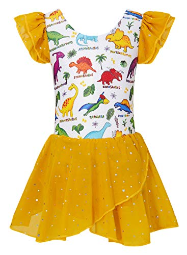 BFUSTYLE Sparkly Dance Leotard for Girls Unique Funny Dancewear Kids Ruffle Unitard With Shirt Dinosaur Yellow Size 10-11