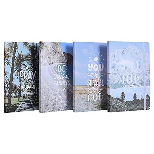 Libreta A5 Vacaciones Cuaderno, Cuaderno de Playa a5, Libretas Bonitas, Puede Usarse Comonotas, Pintura y Graffiti de Cuadernos Bonitos, 96 hojas / 192 páginas, 4Pcs Cuaderno Tapa Dura