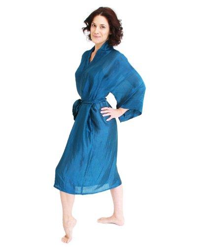 The House of Silk Longue mélange de soie kimono - taille: XL-XXXL - couleur: bleu