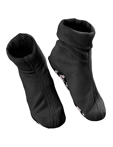 RAIKOU Mujer Hombre Calcetines Térmicos Socke Super Suaves Cómodos Calentar Bed Zapatillas Unisex Pantuflas de Peluche - con ABS Antideslizante Suela (37/40 EU, negro)