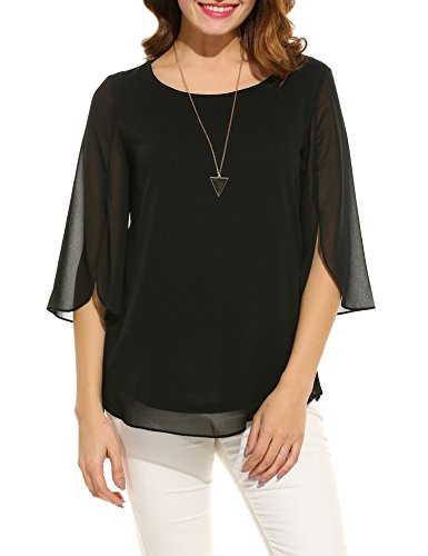ACEVOG Women Casual Chiffon Blouse Scoop Neck 3/4 Sleeve Blouse Tops (Black XL)