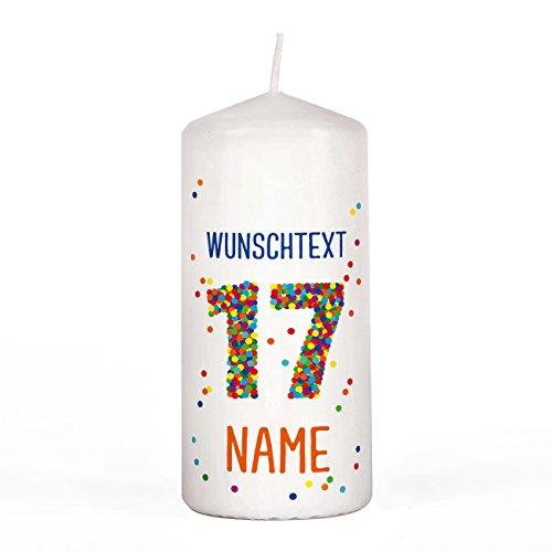Herz & Heim® Geburtstagskerze - Konfetti - mit Namen und Wunschtext 17. Geburtstag
