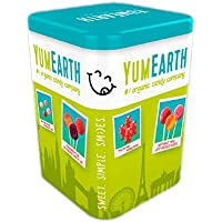 YumEarth - Lata surtido de 50 piruletas de 8 sabores: Cereza, Fresa, Sandía, Melocotón, Manzana, Mango, Arandanos, Uva - 50 piruletas