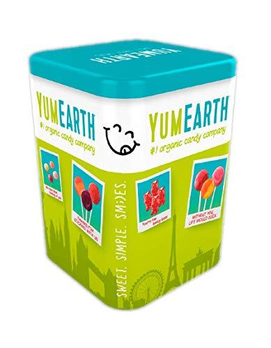 YumEarth Lata surtido de 50 piruletas ecológicas de 8 sabores Edición limitada 2020