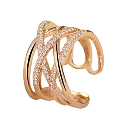 Hosaire Anillo de Plata de con Estilo y Elegante Mujeres de Apertura Metal-Ajustable (Malla Destello de Diamante Oro)