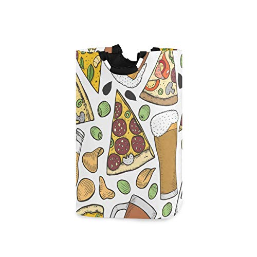 ZOMOY Multifunktionale Faltbarer Schmutzige Kleidung Wäschekorb,Nahtloses Muster Hintergrund Bier Pizza alt,Household Wäschebox Spielzeug Organizer Aufbewahrungsbeutel mit Henkel