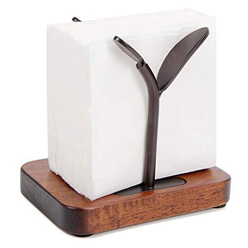 Paper Napkin Holder Wood for Tabletop, Leaf Shape Rustic Wooden Flat Tissue Holders for Dinner Table Black and Brown