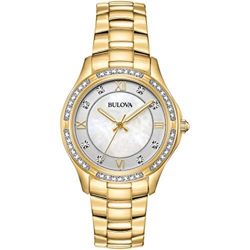Bulova Damen Analog Quarz Uhr mit Edelstahl Armband 98L256