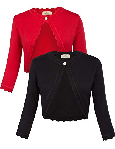 GRACE KARIN Women's Classic 3/4 Sleeve Open Front Knit Cropped Bolero Cardigan (Black+Red, Medium)