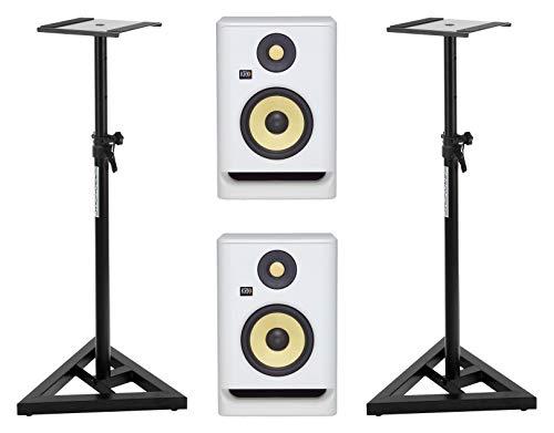KRK ROKIT RP5 G4 White Noise Stativ Set (Aktives 2-Wege Studiomonitor-Paar inkl. 2x Monitorstativen) Weiß