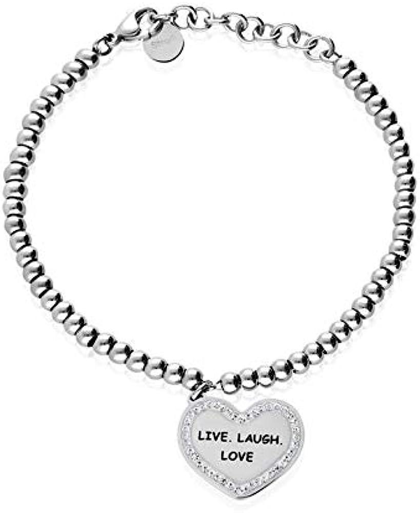 """Stroili bracciale """"live. laugh. love"""" in acciaio rodiato e strass 1663150"""