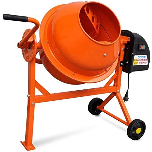 vidaXL - Hormigonera eléctrica de acero, 63L, 220W, color naranja