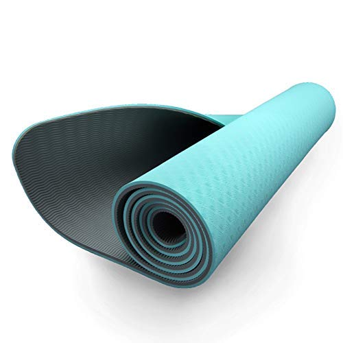 ZIVA Esterilla de yoga TPE 5 mm - Agarre antideslizante de doble capa, esterilla de ejercicio portátil liviana para Pilates, entrenamiento central y de fuerza - Turquesa / Gris