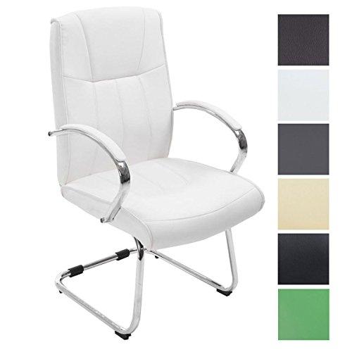 CLP Silla Estilo Cantiléver Basel V2 Tapizada En Cuero PU I Silla De Conferencias con Reposabrazos I Silla De Espera Acolchada I Color: Blanco
