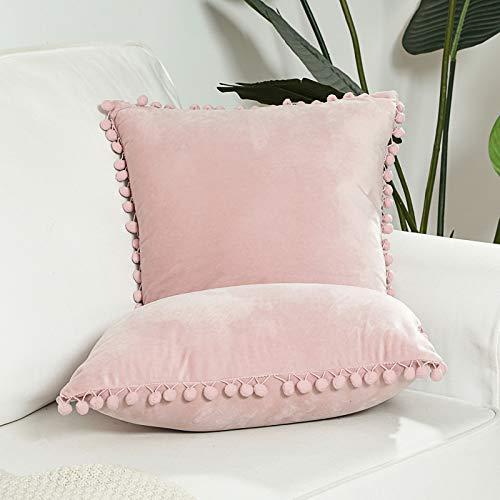 LZYMSZ Juego de 2 fundas de cojín de terciopelo, 45 x 45 cm, cuadradas, suaves, decorativas, para sala de estar, sofá, dormitorio, coche, 45 x 45 cm, pompones no incluidos (rosa)