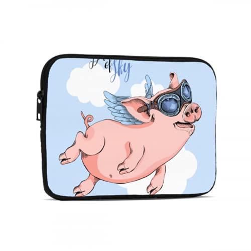 Fundas para Laptop Gafas de Dibujos Animados Pink Pig Wear Accesorios para iPad compatibles con iPad 7,9/9,7 Pulgadas Bolsa Protectora de Tableta de Neopreno a Prueba de Golpes con asa y Correa