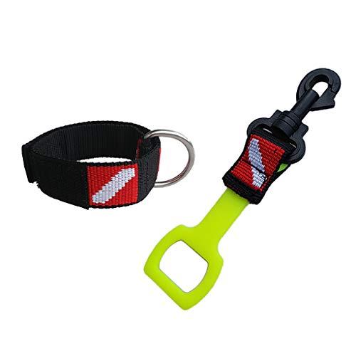 SM SunniMix Verstellbarer Diving Wrist Band Strap Armband D Ring & Atemregler Octo Holder