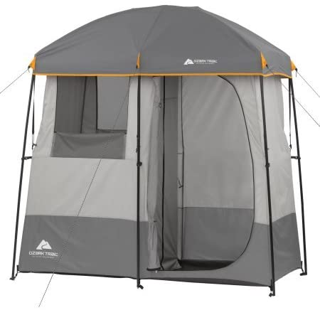 2-Room Non-Instant Shower Tent with 5-Gallon Solar Heated Shower and Removable Rainfly