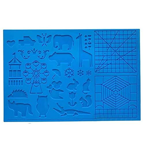 Canjerusof Silikon-Zeichenbrett 3D Pen Mat 3D Pen Stencils Buch 3D-Pen Zeichenwerkzeuge Blau
