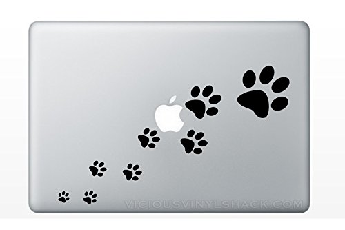 Paw Prints Walking (BLACK) Vinyl Decal Stickers for MacBook Laptop Car Love Forever Pets Dogs Cats Kitty Puppy Ferret Adopt Rescue Shelter