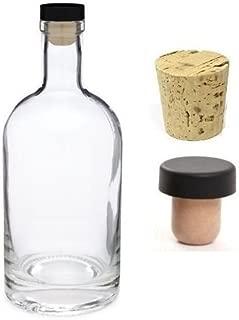 Nakpunar 25 oz Heavy Base Glass Liquor Bottle with T-Top Synthetic Cork with Bonus Regular Bottle Cork - Made in USA