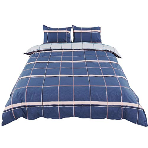 YeVhear - Juego de funda nórdica de 3 piezas, 1 funda de edredón con 2 fundas de almohada, hotel 100% cus, cómodo, transpirable, suave (cama doble, diseño de rayas, azul marino)