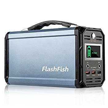 300W Solar Generator FlashFish 60000mAh Portable Power Station Camping Potable Generator CPAP Battery Recharged by Solar Panel/Wall Outlet/Car 110V AC Out/DC 12V /QC USB Ports for CPAP Camp Travel