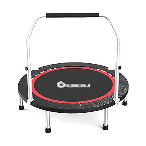 Trampolines d'intérieur Trampolines d'exercice Noirs avec poignée Ajustable, capacité de 300 kg, Rebond de 48 '' pour Adultes en Salle avec Rebond Cardio-Rebond et Tapis de sécurité