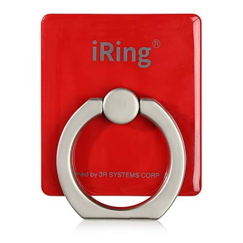 iRing (アイリング) 正規品 スマホリング 360度回転 180度スイング スマホ スタンド 吸着ジェル 水洗い フック 車載ホルダー タブレット 3R SYSTEMS アップルレッド