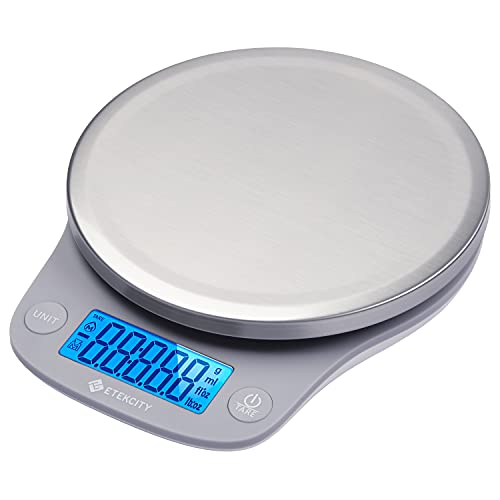 Etekcity 0.1g Food Kitchen Scale, Digital Ounces and Grams for Cooking, Baking, Meal Prep, Dieting, and Weight Loss, 11lb/5kg, Silver Stainless Steel