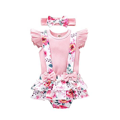Roupas para bebês meninas de 3 a 18 meses com letras + shorts com suspensório + faixa de cabeça + conjunto de roupas de verão 3 peças, #09: rosa, 3-6 meses