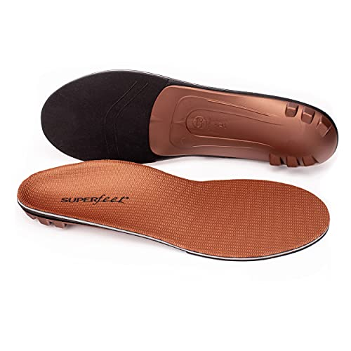 Superfeet Unisex's Memory Foam Comfort Plus Support Shoe Inserts for Anti-Fatigue Replacement Insole, Copper, 9.5-11 Men / 10.5-12 Women