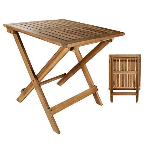 DRULINE Beistelltisch Klapptisch I Akazie Holz I 46 x 46 cm I Klappbar I Balkontisch Holztisch Gartentisch Balkon Garten
