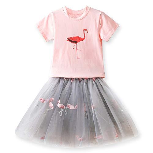 TTYAOVO Juego de Ropa de Princesa de Verano para Niñas Camiseta de Manga Corta de Dibujos Animados + Falda de Tutú de Tul 2 Piezas Trajes 3-4 años(Talla 110) 629 Rosado