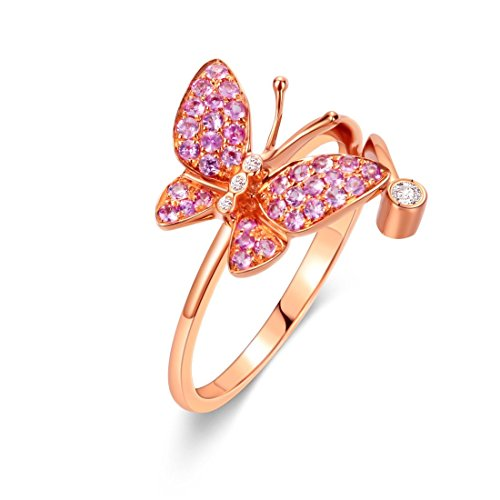 Carleen 18K Solid Rose Gold Pink Natural Sapphire Diamond Butterfly Ring Dainty Fine Jewelry Rings for Women Girls (8)