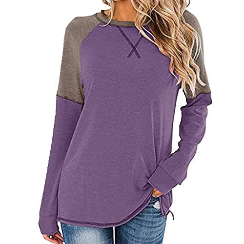N\P Camiseta informal de manga larga con cuello redondo y costuras