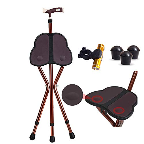 Folding Cane with Seat 441 lbs Heavy Duty Cane Stool Crutch Chair Three-Legged Adjustable Walking Stick Unisex Large Seat for Elderly As Gift