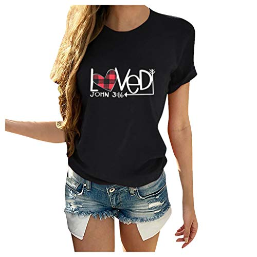 Women Valentine's Day Casual Short Sleeve O Neck T-Shirt Print Heart-Shaped Top