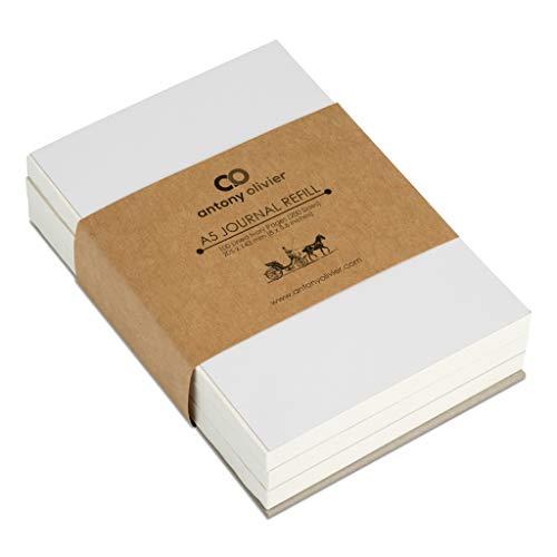 Antony Olivier Leather Journal Recambios Hojas | Papel rayado - Juego de 3 | 100 hojas de color marfil (200 páginas) | Tamaño A5 (205 x 143 mm)