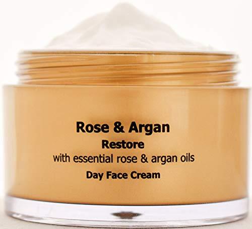 Wiederherstellen, Feuchtigkeitsspende, Anti-Age Tag Gesichtscreme mit Argan und Rosenöl 50ml, Männer und Frauen Gesichtscreme, Tag Gesichtspflege für trockener und empfindliche Haut