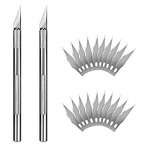 Herramientas de talla, PAMIYO 2pcs Cutter con 20pcs Cuchillas de Repuesto de Acero Inoxidable de Precisión para Escultura Trabajos Artísticos - DIY Hecho a mano