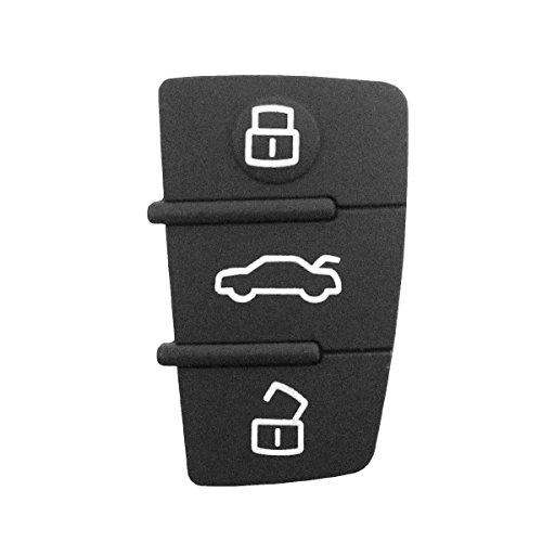 Ersatzgummi mit 3 Tasten für Autoschlüssel, schwarz, für Audi A1 A3 A4 A5 A6 A8 S4 S5 Q5 Q7 Schlüssel-Gehäuse mit Logo