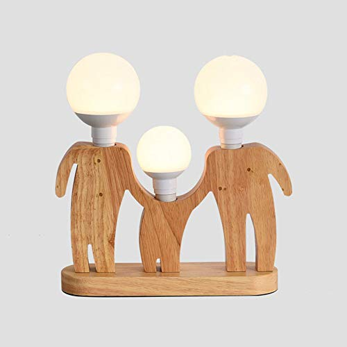 Cakunmik Lámpara de Mesa Robot lámpara de Noche de Madera Creativa E27 Fuente de luz: iluminación Decorativa para niños, Oficina, Sala de Estar,B