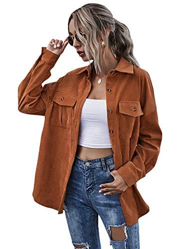 MakeMeChic Women's Flap Pocket Button Front Long Sleeve Corduroy Jacket Coat Brown S