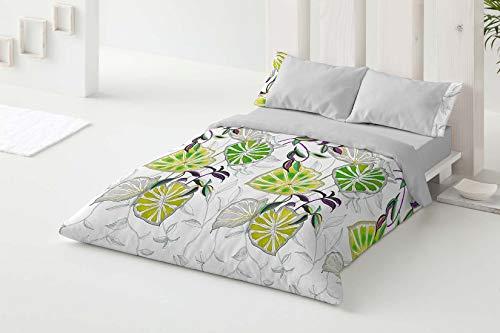 Burrito Blanco Juego de Funda Nórdica 110 con un Diseño de Hojas para Cama de Matrimonio de 135x190 hasta 135x200 cm/Funda Nórdica Moderna 135, Color Verde