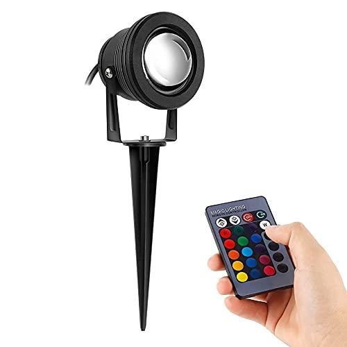 Kefflum 10W RGB LED Gartenleuchte Scheinwerfer,230V,Ausschalten Memory-Funktion,mit Stecker Erdspieß,Rasen Licht,GUMMI 1,5m Kabel,IP65,LED Lawn Licht, Spotbeleuchtung,Bodenleuchte,Teichstrahler