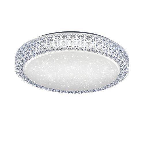 LED Deckenlampe in Sternenhimmel-Optik, rund 40cmØ | Deckenleuchte über Wandschalter dimmbar, Farbtemperatursteuerung, warmweiß - kaltweiß | Deckenbeleuchtung in Kristall-Optik