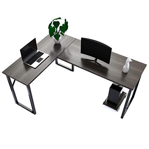 amzdeal Schreibtisch, Eckschreibtisch L-förmiger Computertisch mit CPU-Unterstützung, Hergestellt aus Hochwertigem Holz, Stahlstütze, Hellem Nussbaum